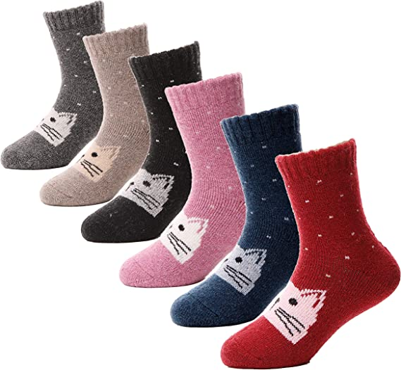 Kids Boys Girls Wool Socks Thermal Thick Children Toddler Soft Warm Cozy Winter Crew Socks 6 Pairs