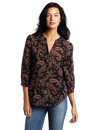 deb9a66f7d1a9e Lucky Brand Women's All Paisley Popover Shirt, Black Multi Medium at ...