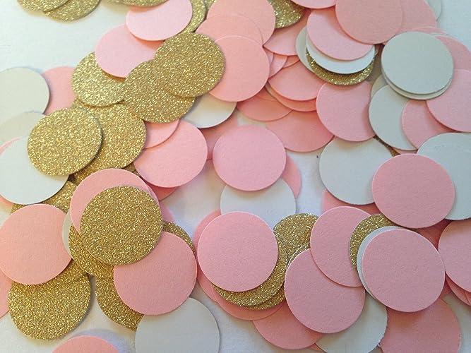200 pink gold confetti baby shower confetti wedding confetti bridal shower circle