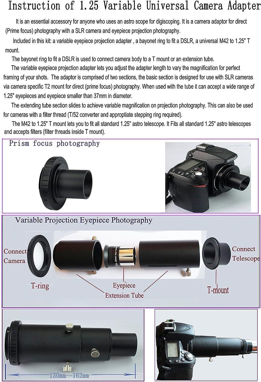 1.25 Variable Eyepiece Projection /& Prime Focus Deluxe Telescope Camera Adapter Kit for Nikon SLR DSLR