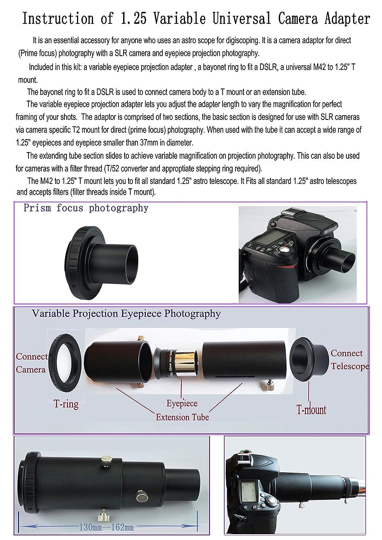 Gosky Deluxe telescopio Kit de Adaptador de cámara para Canon EOS ...
