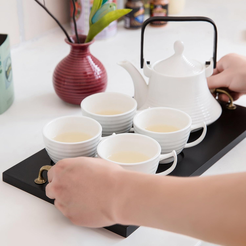 Amazon.com | Classic White Ribbed Ceramic Tea Set, Vintage Serving ...