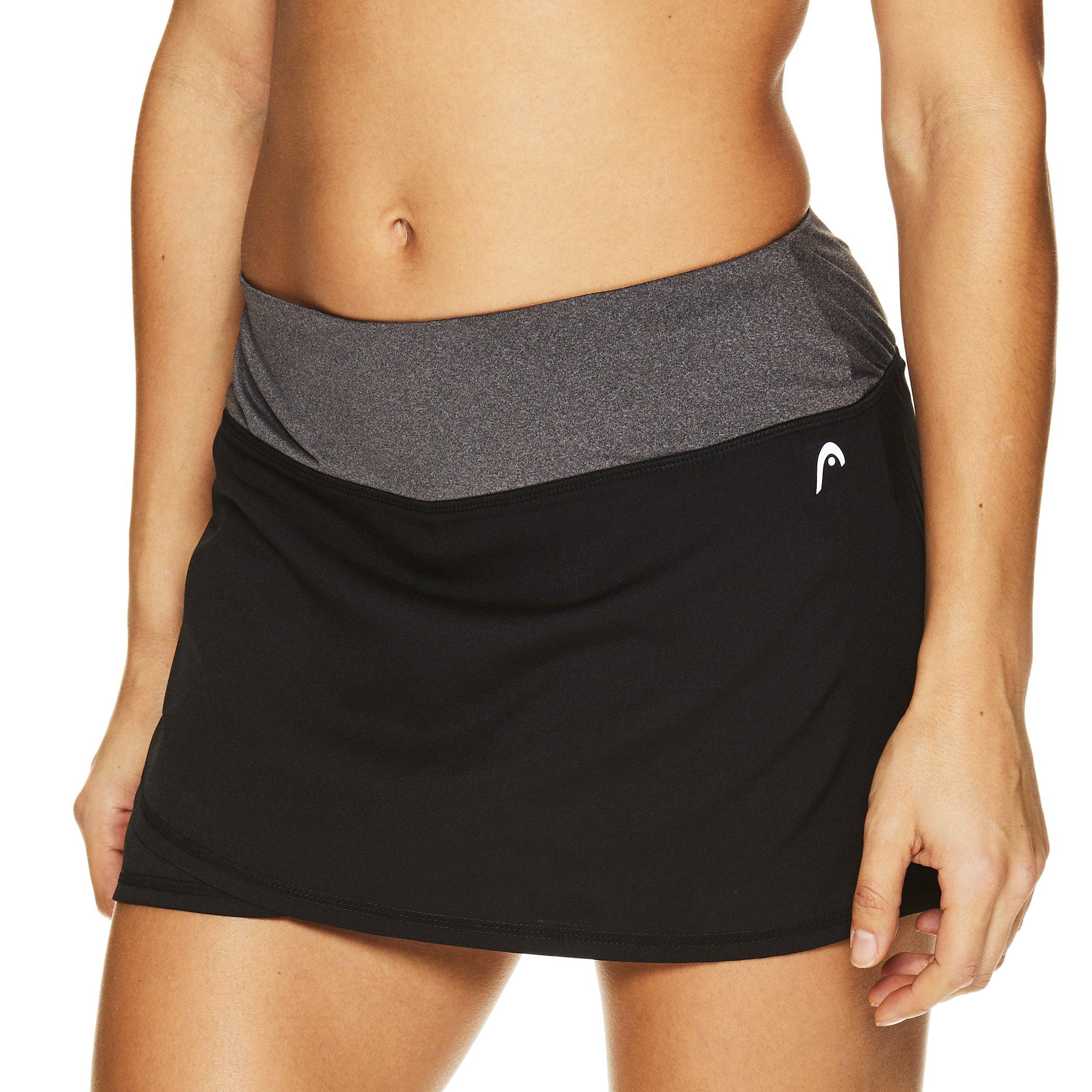 HEAD Women's Athletic Tennis Skort - Performance Training & Running Skirt - Black Rally, Large