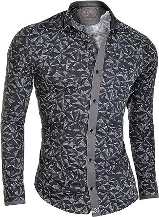 Cipo & Baxx Camisa de Vestir para Hombre Noche Formal Acabado Gris algodón Ajuste Fino: Amazon.es: Ropa y accesorios