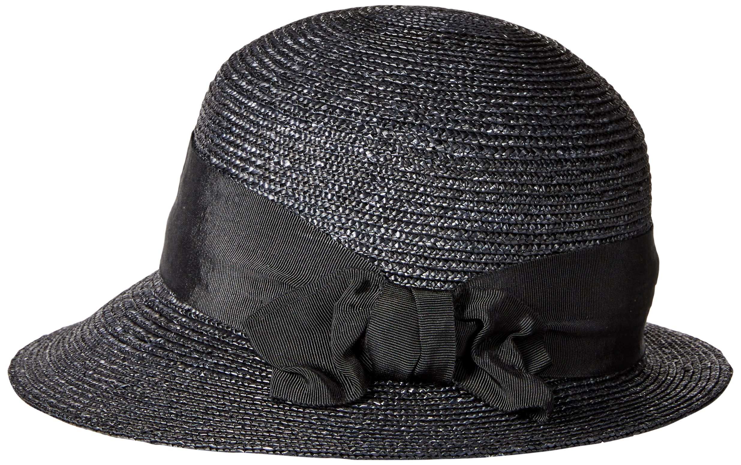 Gottex Women's Darby Fine Milan Straw Packable Sun Hat, Rated UPF 50+ For Max Sun Protection, Black, One Size