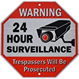 "Diamond ULTRA REFLECTIVE Warning 24 Hour Surveillance No Trespassing Metal Sign | with for home business Video Security CCTV Camera | 12""L x 12""H Aluminum (12""x12"" Reflective"