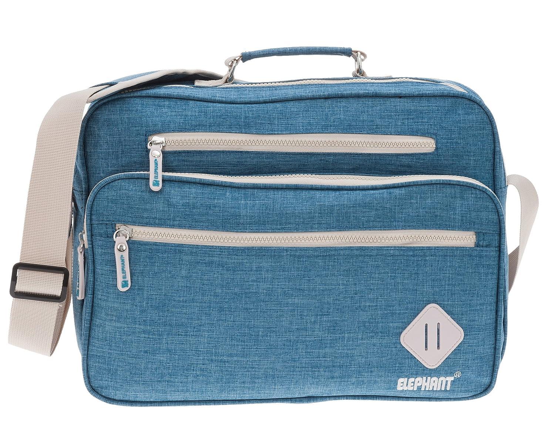 Flugumhänger ELEPHANT Vintage Arbeitstasche Din A4 Bürotasche Handgepäck Tasche Wahl +Etui (Flat Blau) 5683 5684