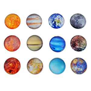 Planet Glass Refrigerator Magnets - Heavy Duty (Each Holds 8 Pages) - Perfect for Classroom, Office, Kitchen - Authentic Planet Images - Pack of 12