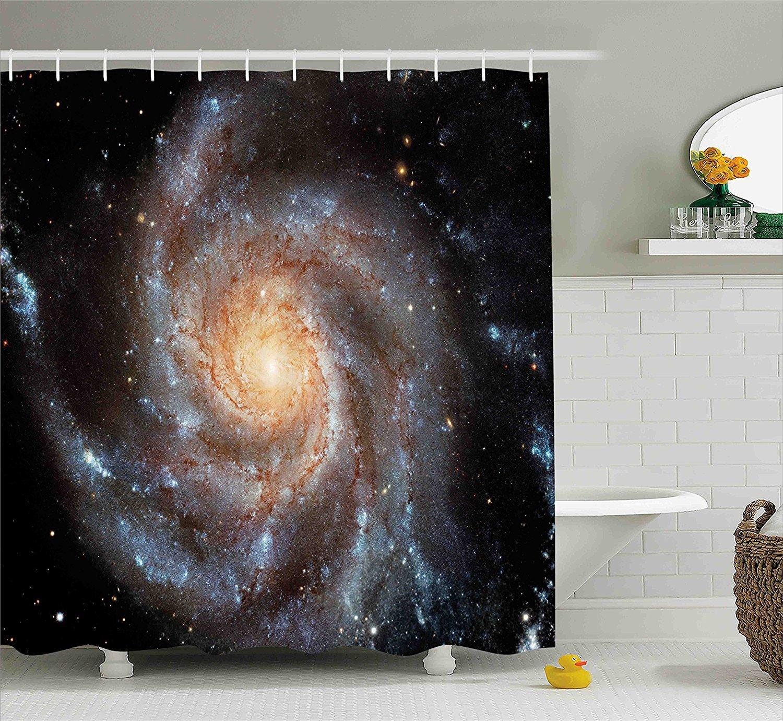 Nebula Shower Curtain Galaxy Stars in Space Print for Bathroom