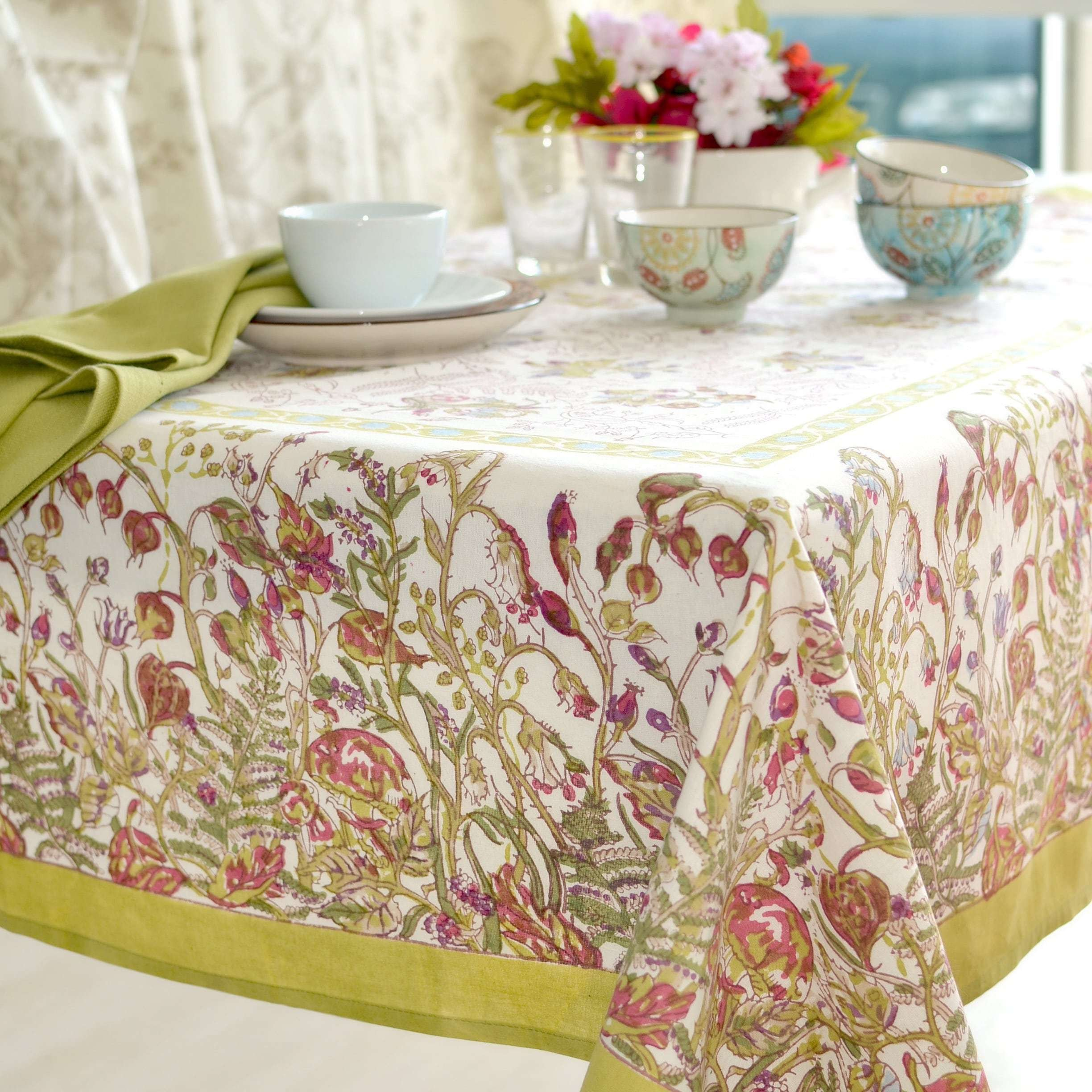 71 X 128 Inches Multi Green Petit Fleur Flower Tablecloth, 1 Piece Nature Tiny Berries Fairy Garden Themed Rectangle Small Dining Table Cover, Casual Country Traditional Plum Blue Light Green, Cotton by NaNa