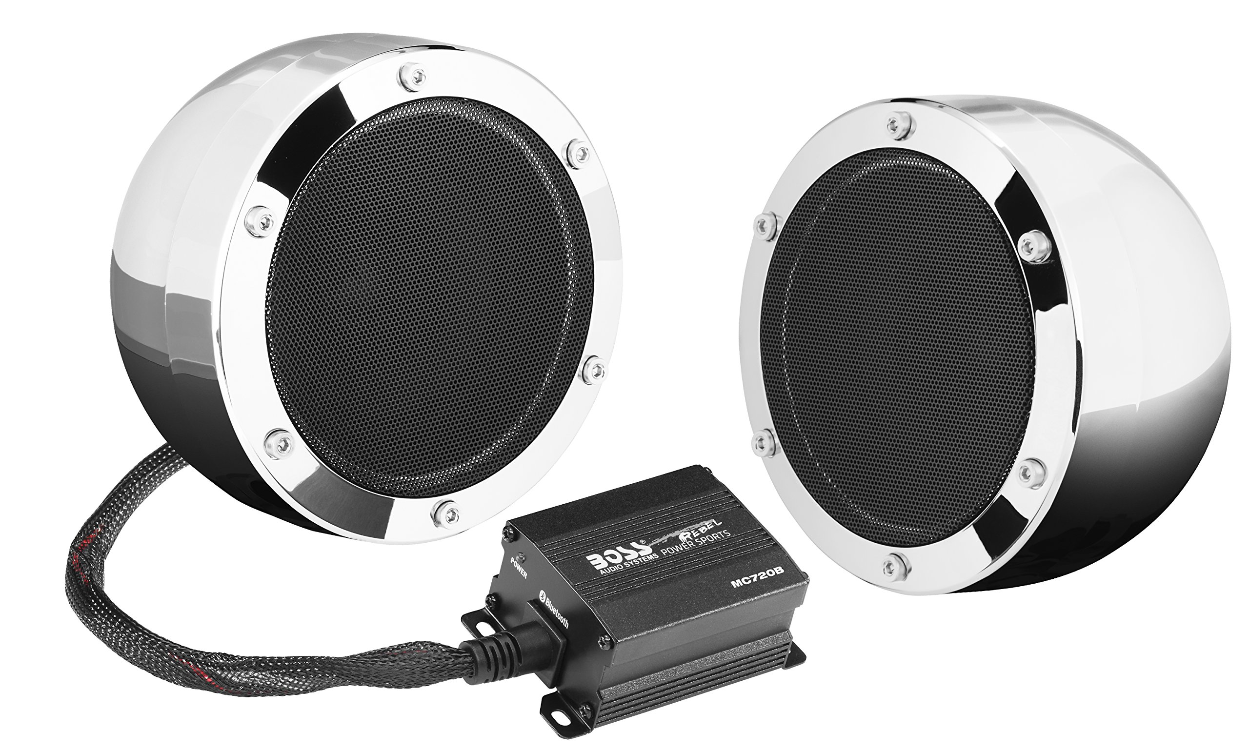BOSS Audio MC720B Bluetooth, Weatherproof Speaker And Amplifier Sound System, Two 4 Inch Speakers, Bluetooth Amplifier, Inline Volume Control, Ideal For Motorcycles/ATV and 12 Volt Applications