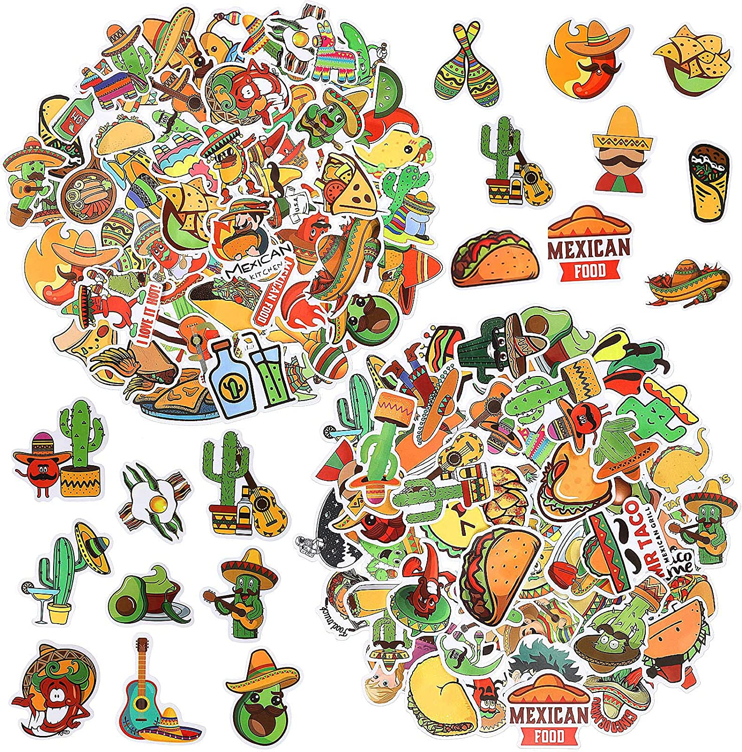 100 Pieces Mexican Food Stickers Waterproof Vinyl Stickers Decals Laptop Stickers Assorted Cute Mexican Stickers for Water Bottle, Fridge, Travel Case, Skateboard, Guitar, Decorations and Crafts