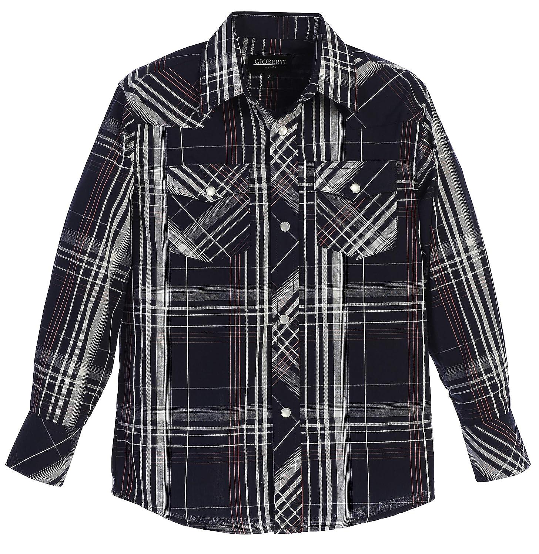 Gioberti Boys Casual Western Plaid Long Sleeve Pearl Snaps Shirt Bandladesh LS-82W
