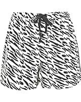 Leisureland Women's Cotton Flannel Pajama Sleepwear Lounge Boxer Shorts Zebra Print