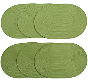 London Woven Spiral Table Placemats 16.9 X 13 Inches Oval Set of 6 Non-Slip Dining Apple Green
