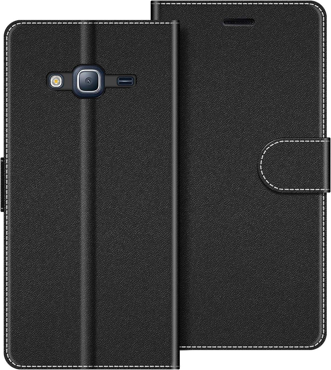 COODIO Funda Samsung Galaxy J3 2016 con Tapa, Funda Movil Samsung J3 2016, Funda Libro Galaxy J3 2016 Carcasa Magnético Funda para Samsung Galaxy J3 2016, Negro