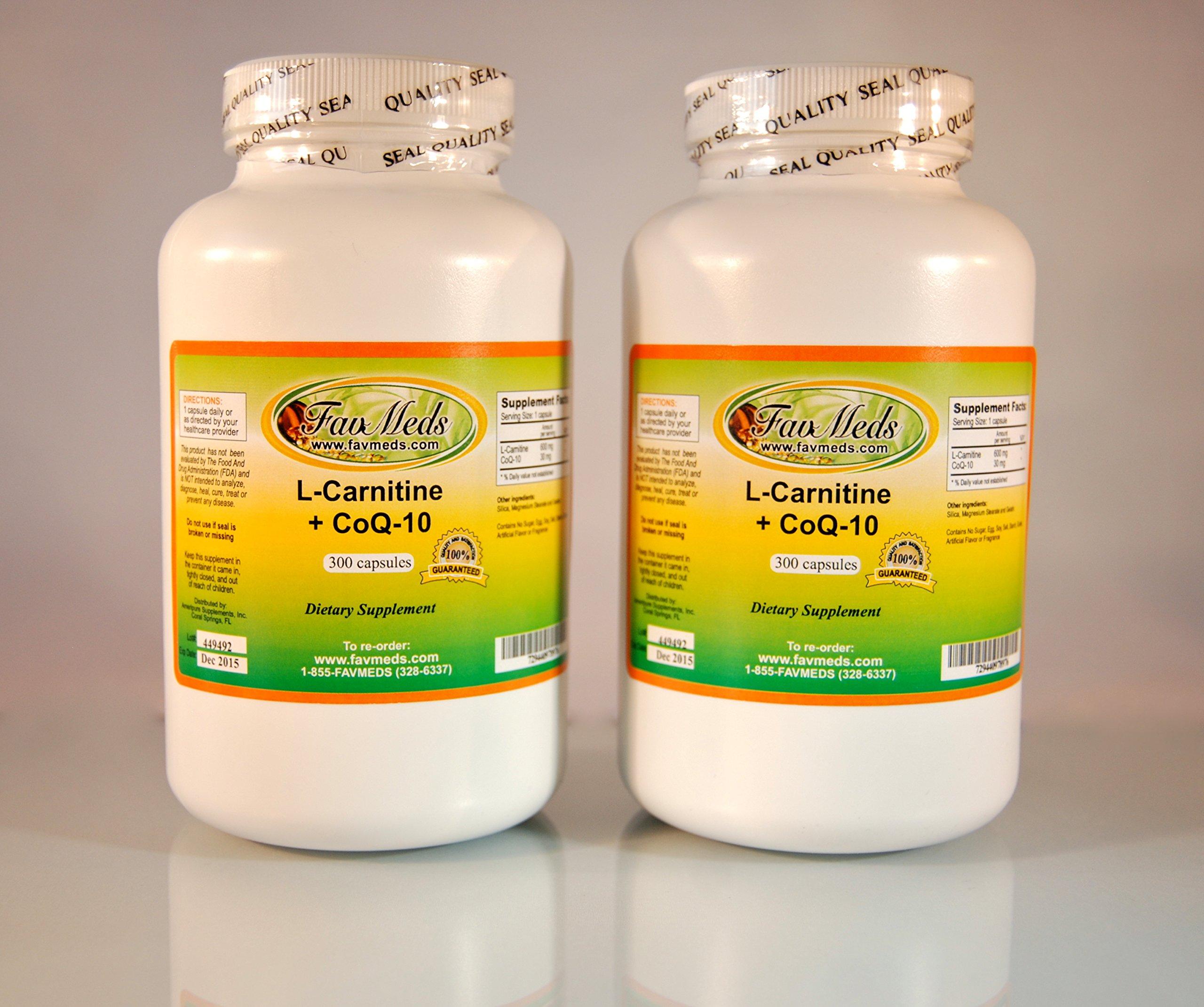 L-Carnitine 600mg + Coq-10 (2 bottles - 600 [2x300] capsules)