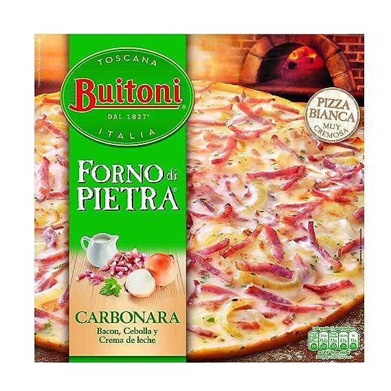 Buitoni Forno di Pietra Carbonara - Pizza Congelada con crema de leche, bacon y cebolla