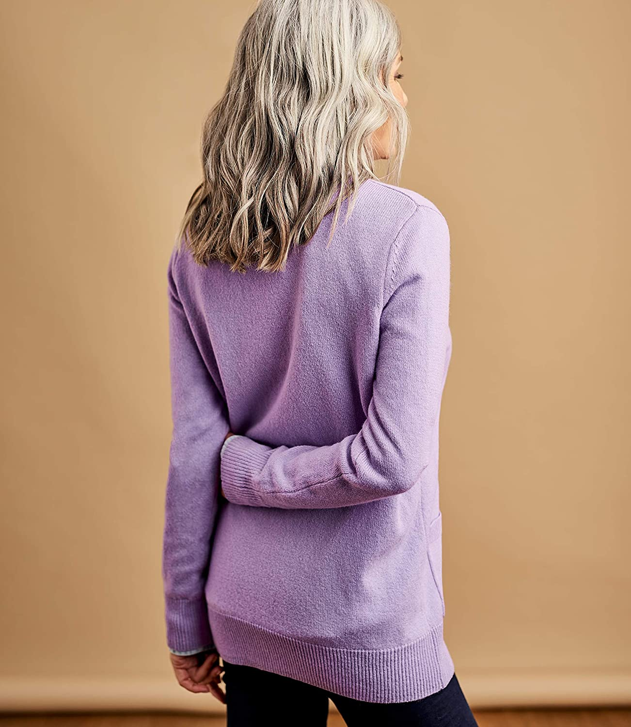 WoolOvers Womens Lambswool V Neck Cardigan