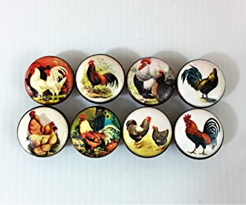 Set Of 8 Country Chicken Rooster Cabinet Knobs (Set 2)