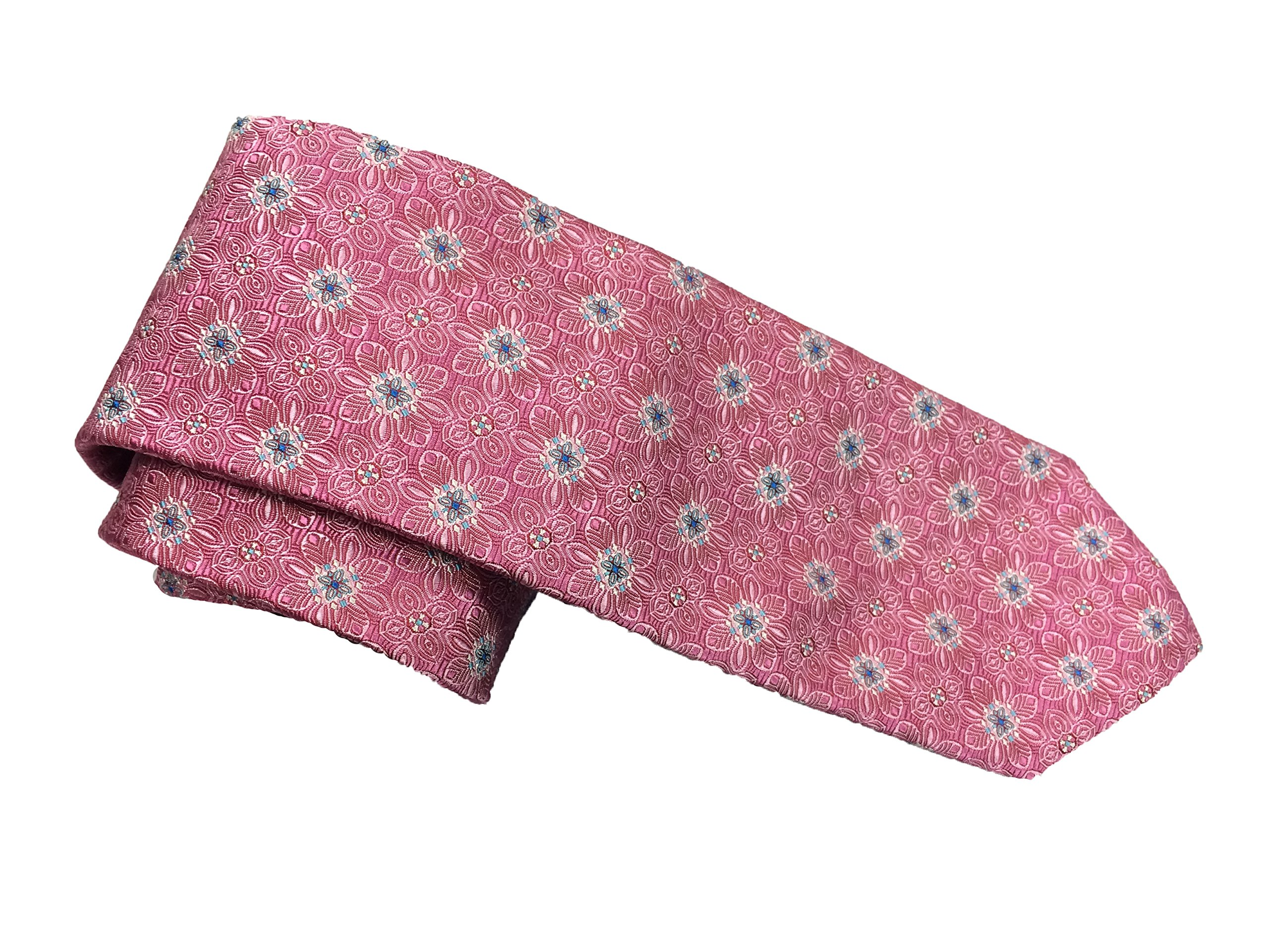 Robert Talbott Pink and White with Blue Floral Corporate Best of Class Extra Long Tie