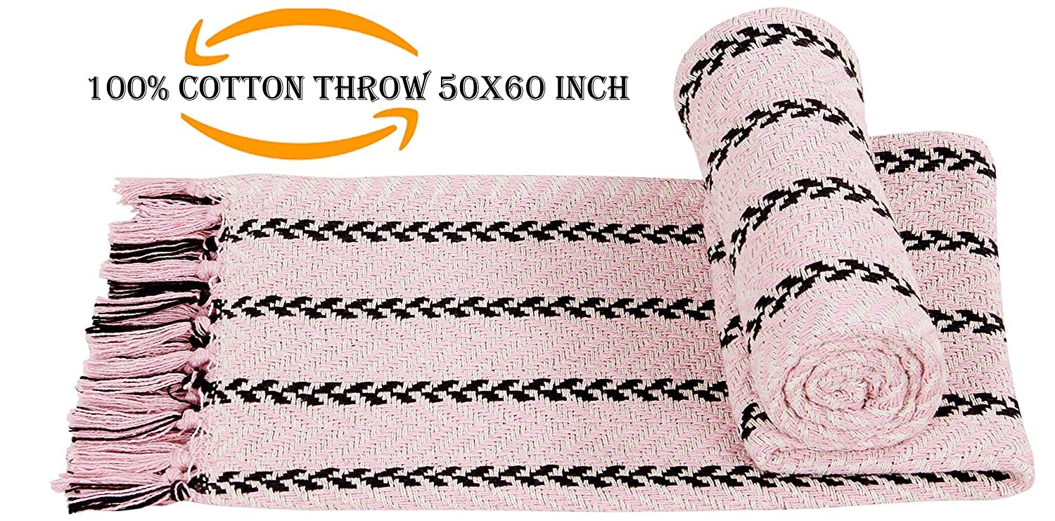"100% Soft Cotton Throw Blanket ,Couch Sofa Throw Blanket, Sofa Quilt, Super Soft Cotton Throw Blanket, Indoor/Outdoor Suitable for Picnic Camping Beach 50""x60"" Hand-Knotted Fringe Cotton Throws pink"