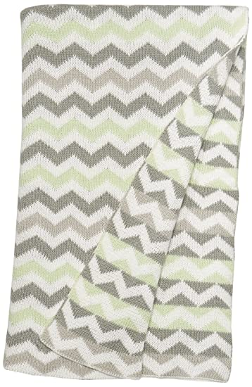Amazon Tl Care 100 Cotton Sweater Knit Blanket Celery Zigzag