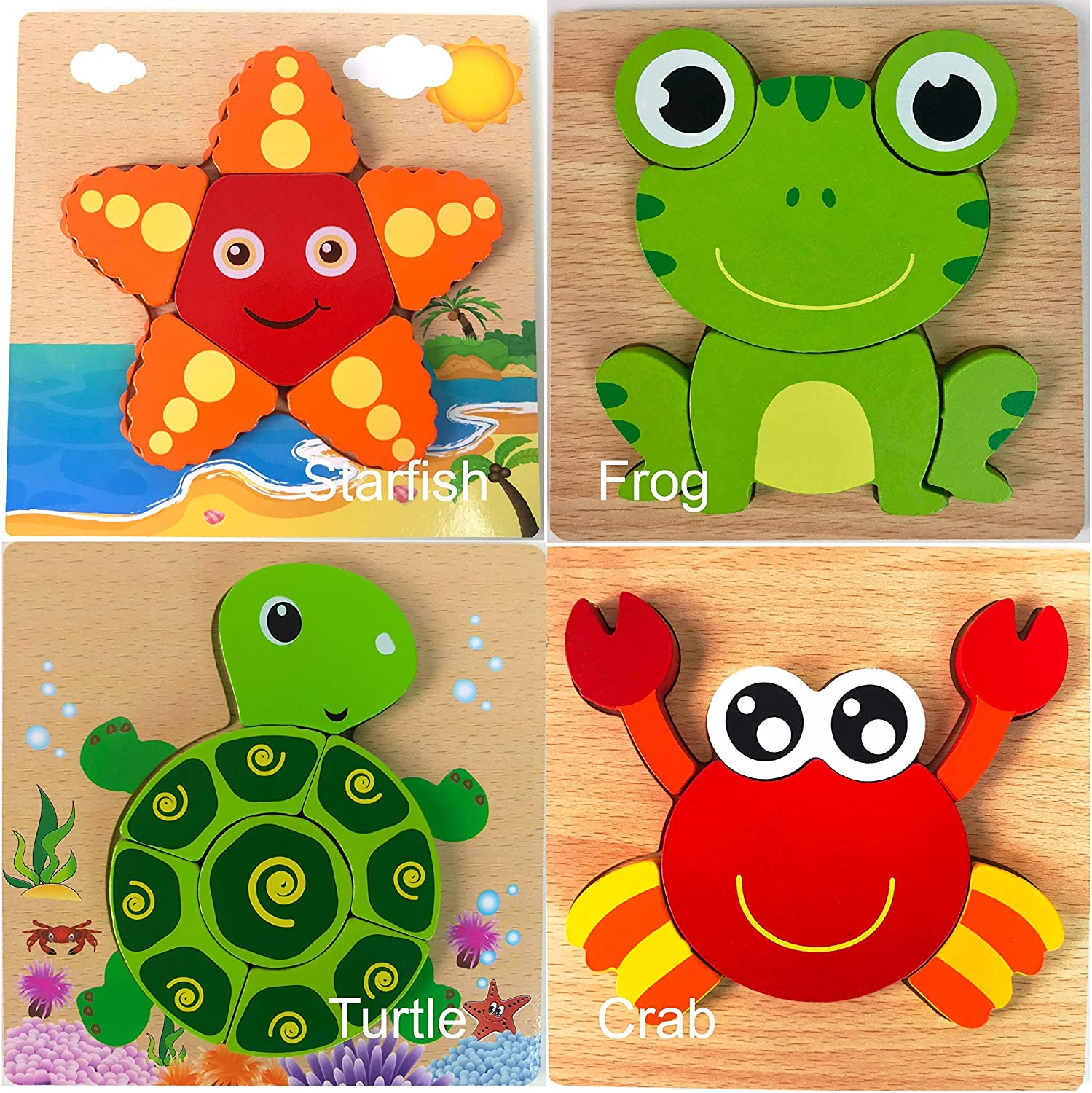 GBG Bib & Toys Safe Wooden Jigsaw Puzzles, [4 Pack] Water Friends (Animals) Patterns Puzzles for Toddlers Kids Early Educational Toys Gifts, Teaching Aids for 1 2 3 Years Old Boys & Girls