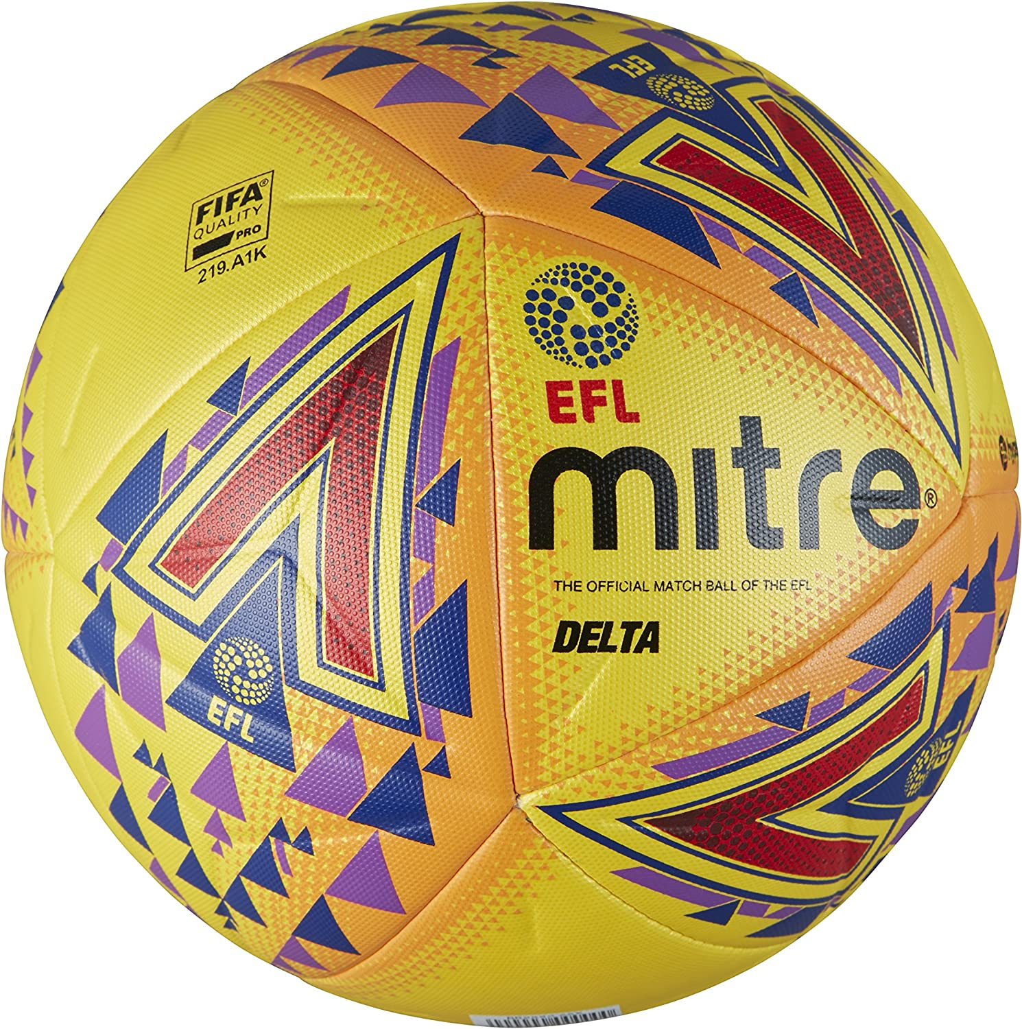 Mitre Mens Efl Delta Pro Professional Football, Yellow, Size 5 ...