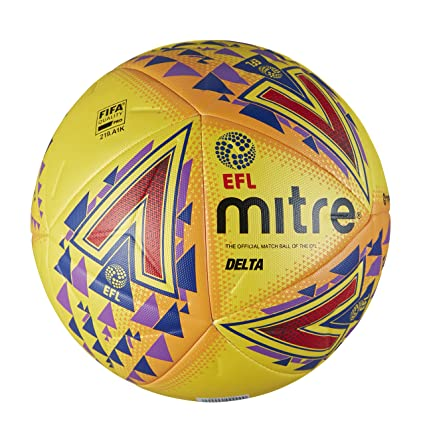 Mitre Mens Efl Delta Pro Professional Football, Yellow, Size 5 ...