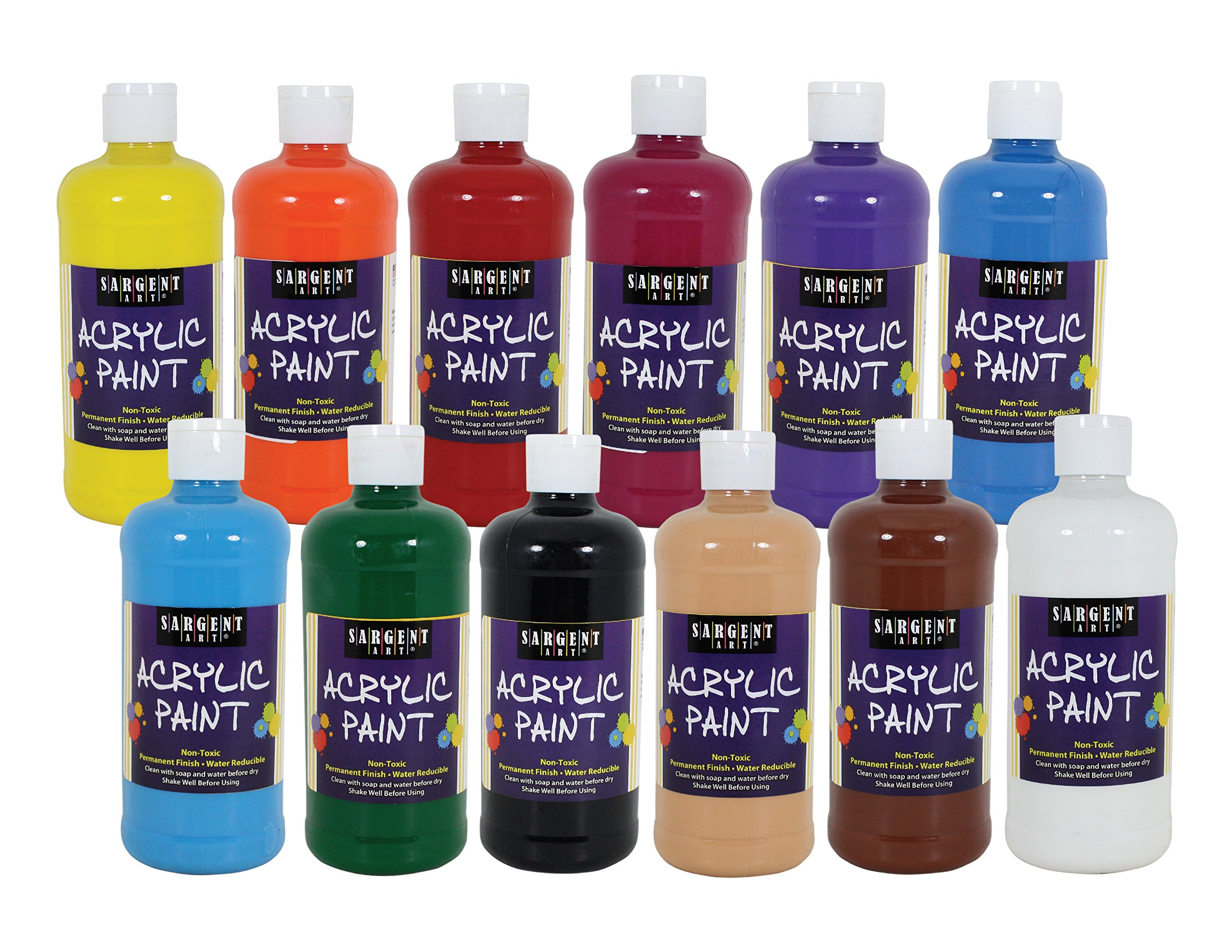 Sargent Art 24-2498 , 12Count Artist Quality Acrylic Paint Set, 12 Different Colors,