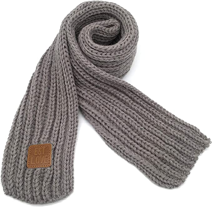 Kids Knitted Scarf Winter Fashion Solid Color Toddler Baby Scarves Wrap Neck Warmer Grey Clothing Amazon Com