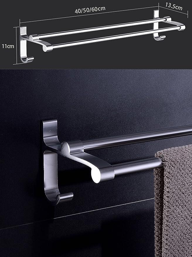 ERKMO Selbstklebender Doppel Handtuchstangen und Aluminium