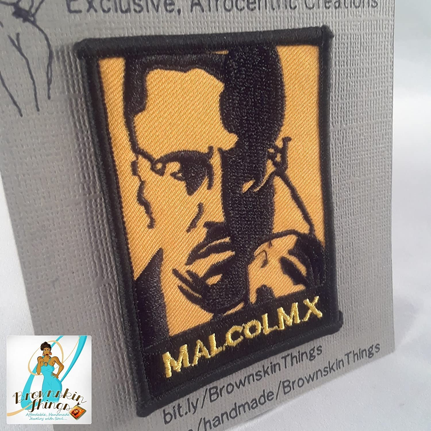 Malcolm X Patch - 3.00x2.25 inches - Iron On - Embroidery