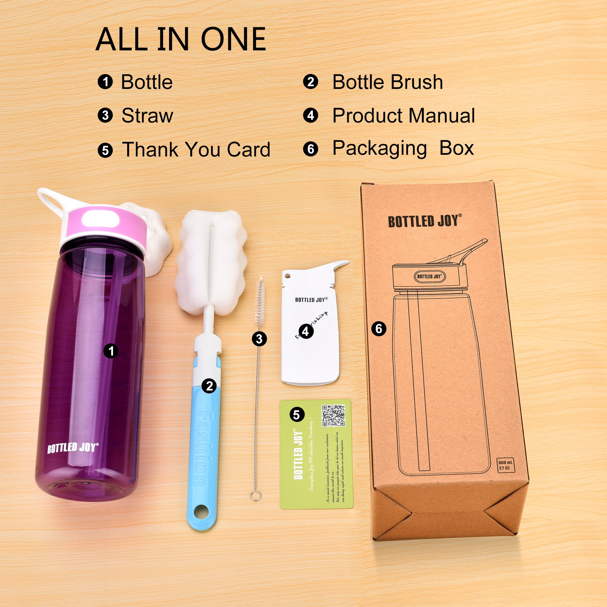 School Water Bottle with Straw Handle BPA Free Leak Proof Tritan Material for Exercise Travel Camping Picnic and More 28oz (Violet)