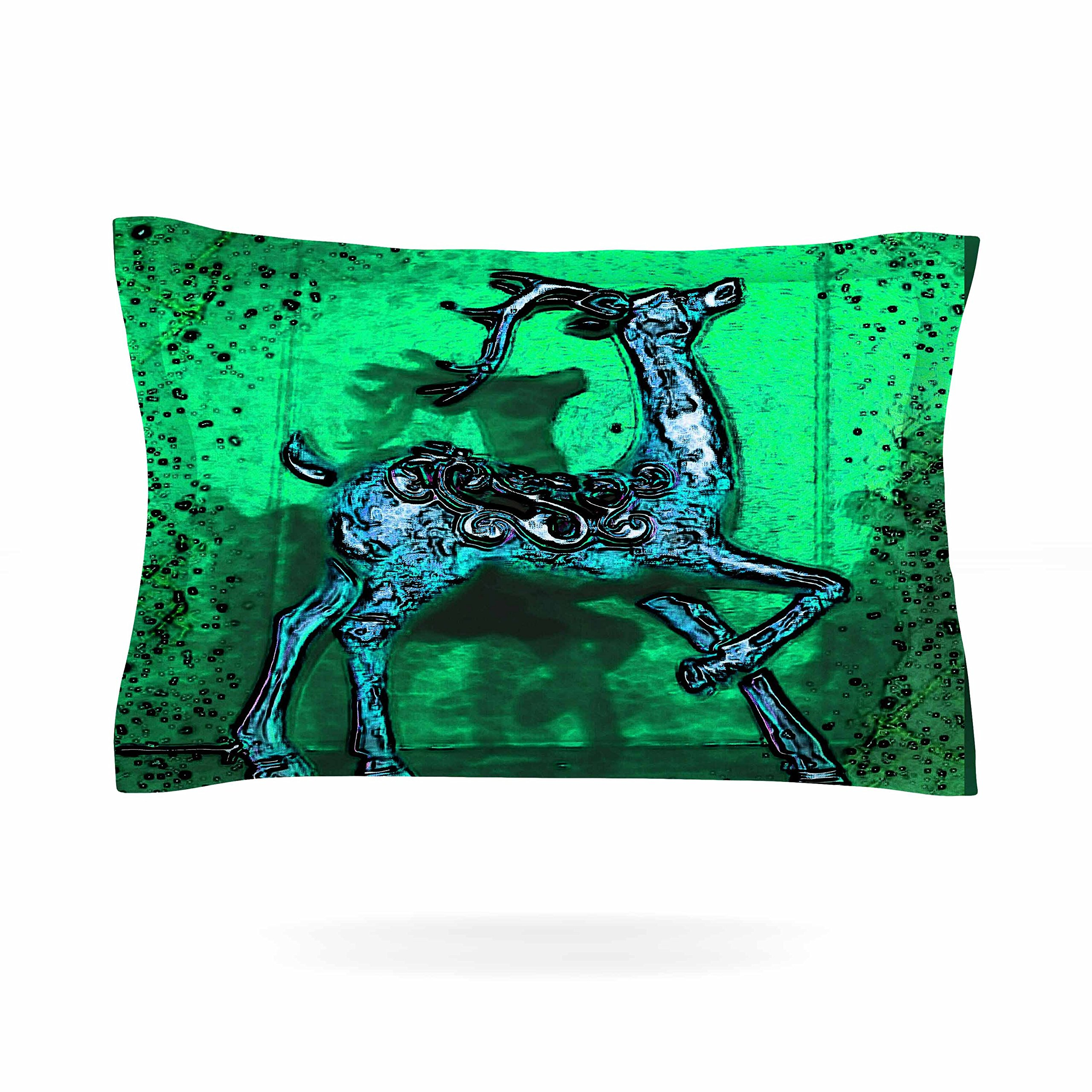 KESS InHouse Anne LaBrie ''Dance On'' Green Blue  Pillow Sham, 40'' x 20''