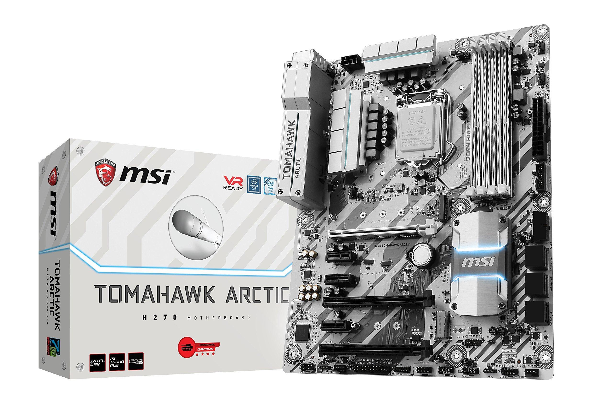 MSI Gaming Intel H270 DDR4 HDMI USB 3 CrossFire ATX Motherboard (H270 TOMAHAWK ARCTIC) (Certified Refurbished)