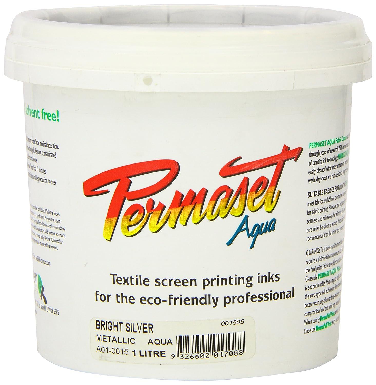 Permaset Aqua 1 Litre Fabric Printing Ink - Bright Silver Colormaker SR001505