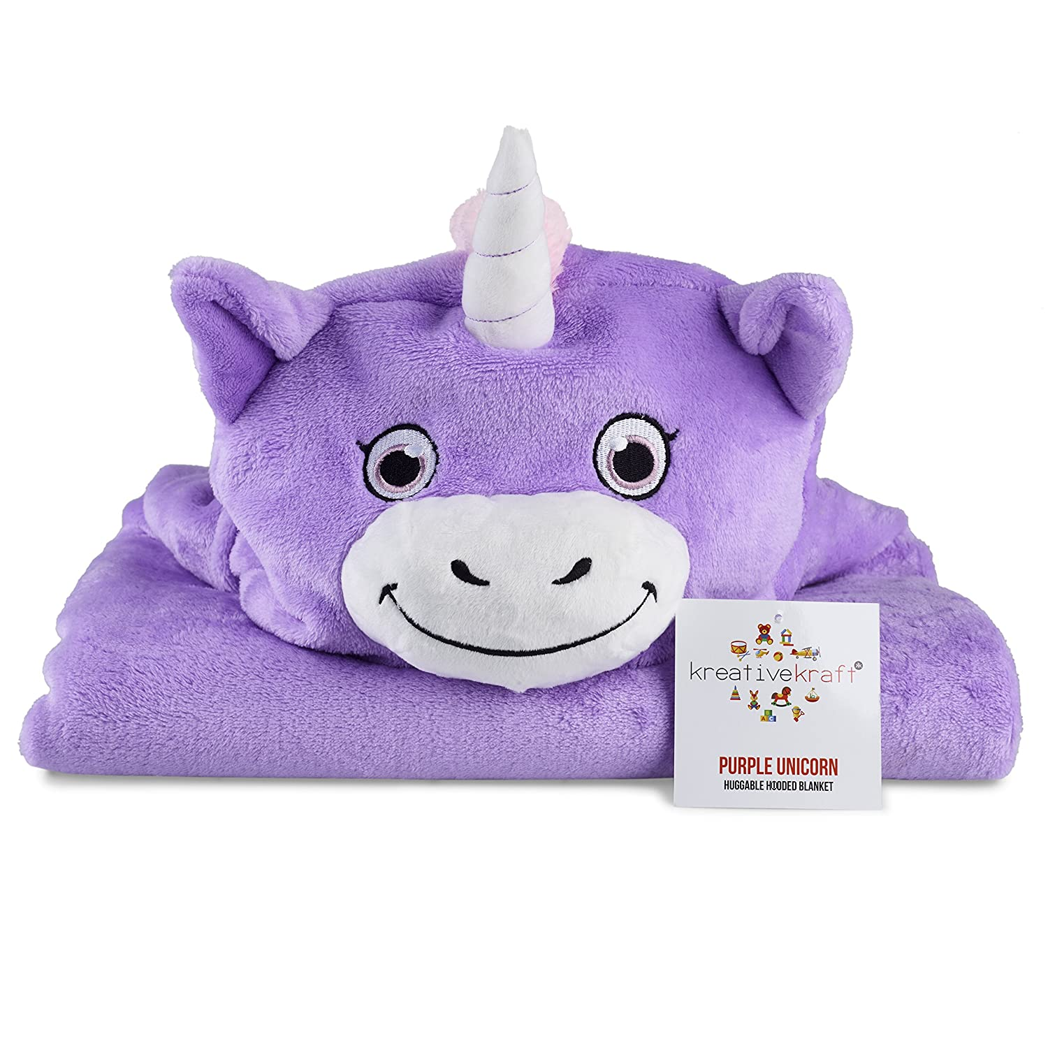 Kids Huggable Hooded Blanket – Plush Unicorn Blanket For Baby Boys & Baby Girls - Kids Animal Comfy Hoodie – Comfortable, Super Sot, Warm & Snug – Easy To Clean F&F Stores