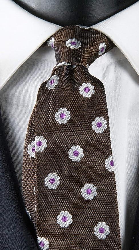 Corbata de hombre marrón con estampado floral blanco y morado ...