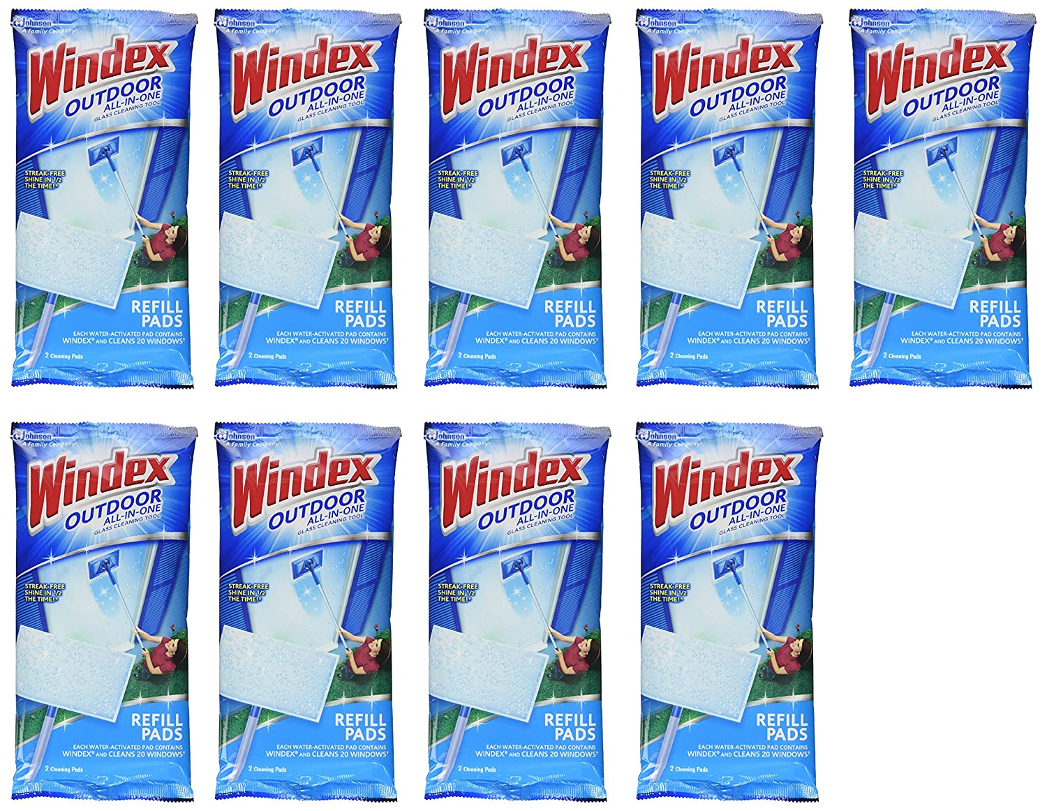 Amazon.com: Windex Outdoor All In One Window Cleaner Pads Refill, 2 Count  (Pack Of 1): Health U0026 Personal Care