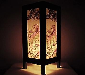 Rare Asie Thaï Lampe De Tables Bouddha Style Chevet Tigre Par Thaïlande