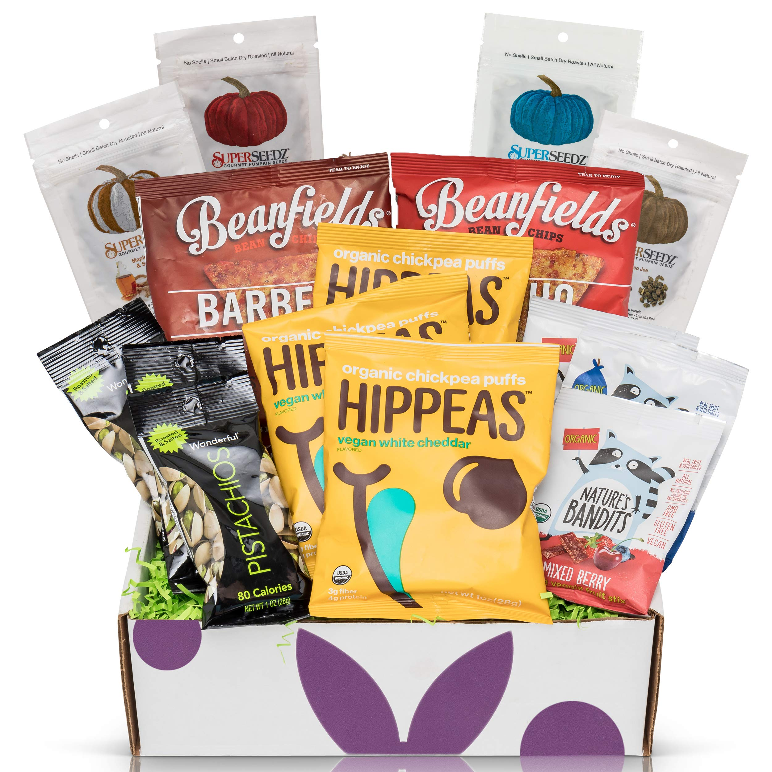 Gluten Free Vegan Chip Box: Variety of Healthy Sweet & Savory Chips - Nuts - Seeds - Fruit Stix - Healthy Care Package Gift Box