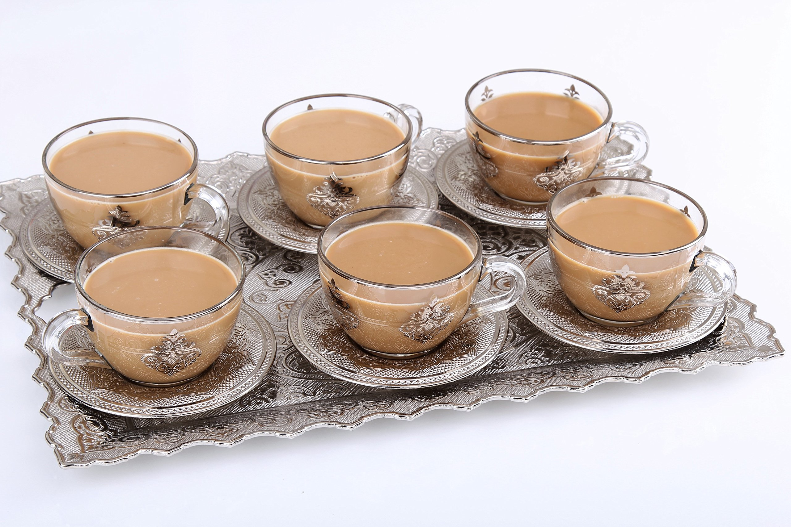HIGH END Silver plated Coffee and Tea cup Set for 6 - NEW 2017 MODEL - Made in Turkey - 12 pieced METAL set including in Gift Box, Silver