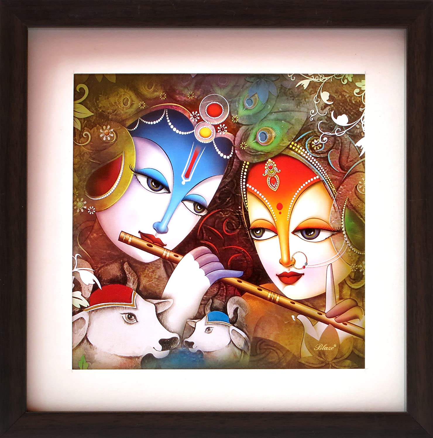 HandicraftStore Lord Radha Krishna Flute Cow, a Decorative Poster Painting Home/Office Décor, a Paper Poster Framing