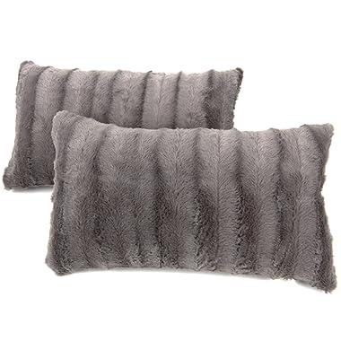 Cheer Collection Faux Fur Throw Pillows - Set of 2 Lumbar Couch Pillows - 12  x 20  - Grey