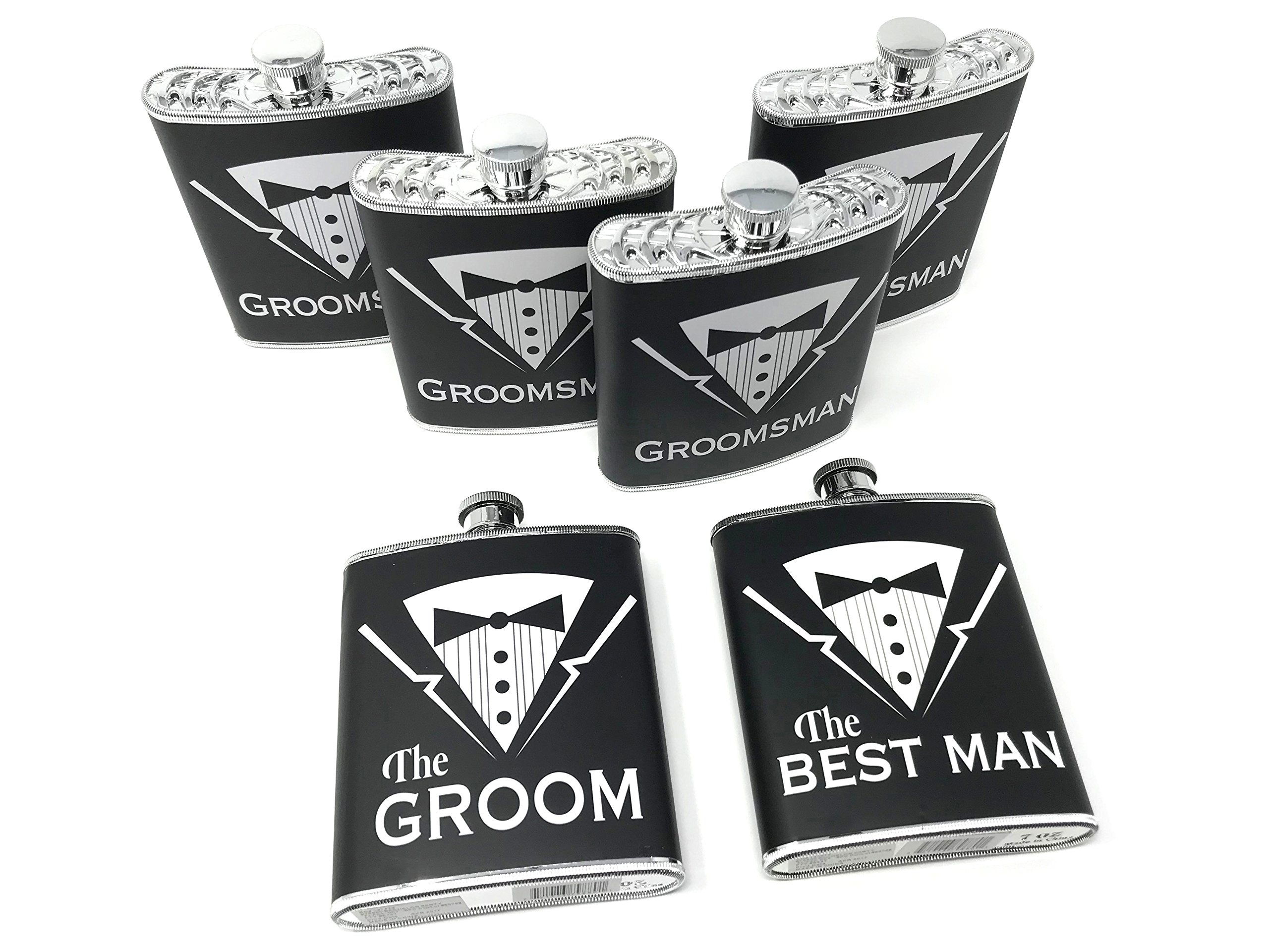 Grooms Gifts – Set of 6 Groom, Best Man, Groomsman Bachelor Party Plastic Tuxedo Flasks