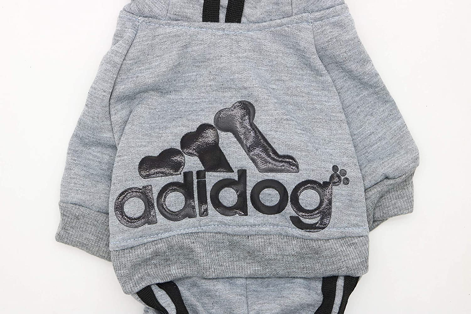 Large Grey DroolingDog Adidog Dog Clothes Small Dogs Sweater Fleece Hoodie for Small Dogs