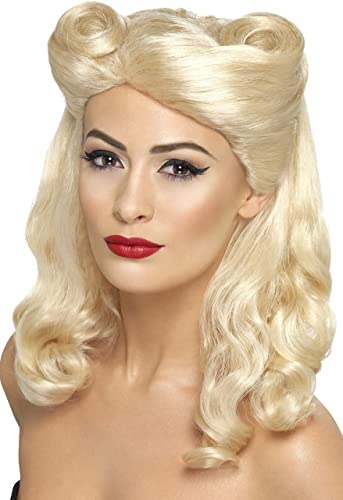 1940s Costumes- Wonder Woman, WW2, Dorothy, Nurse, Pinup Smiffys 40s Pin Up Wig $17.23 AT vintagedancer.com