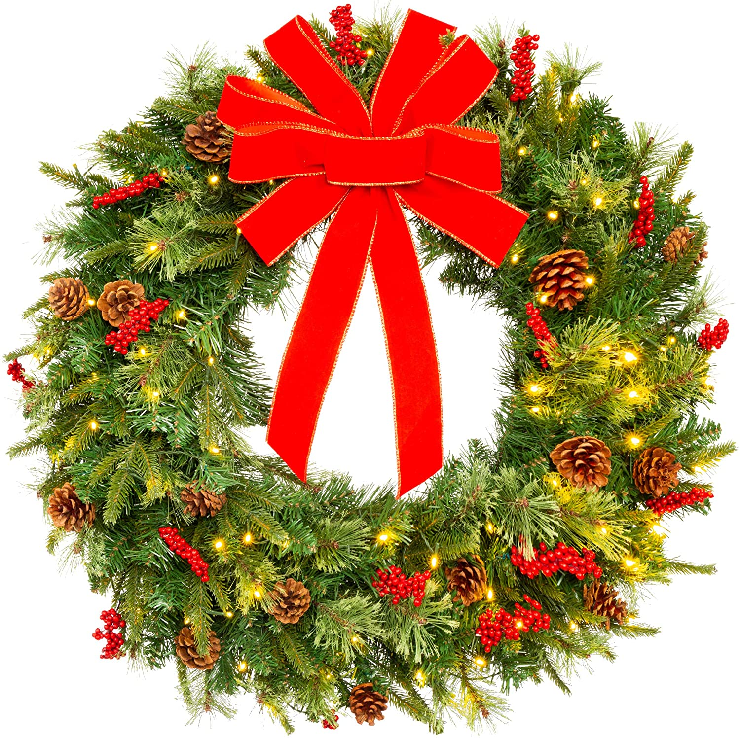 Best Choice Products 24in Pre-Lit Battery Powered Christmas Wreath Artificial Pre-Decorated Holiday Accent w/ 70 Lights, 96 PVC Tips, Ribbons, Pine Cones